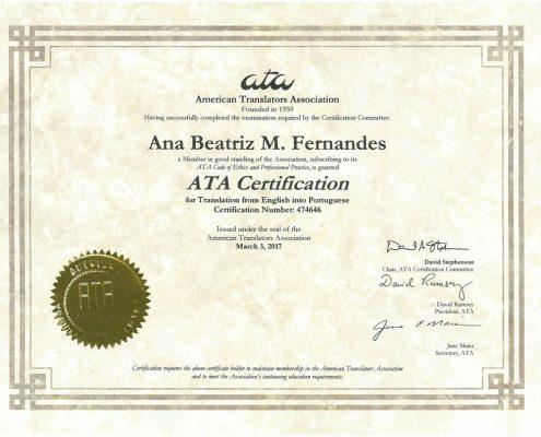 Ana Beatriz Fernandes – Follow-Up Translation Services – translation ...